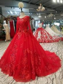 Red long sleeve wedding prom dress gown RB0719