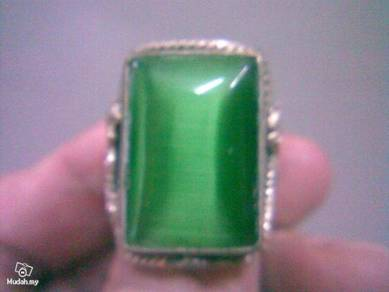 ABRSJ-G002 Square Green Jade Metal Style Ring
