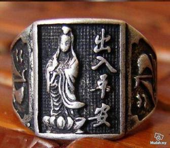 ABRSM-G001 Guan Yin Buddha Silver Metal Ring Sz 9