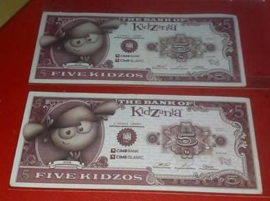 The Bank of Kidzania 5 Kidzos (2 pcs Kids Money)