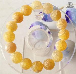 ABBJ-Y001 Dreamlike 12mm Yellow Agate Bracelet