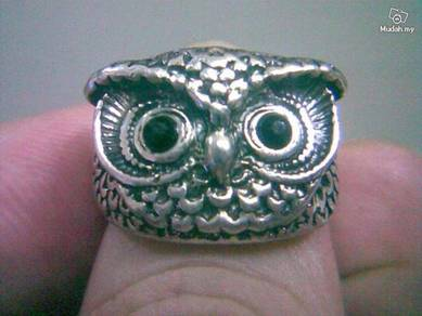 ABRSM-O004 Owl Face Head Silver Metal Ring Sz 7