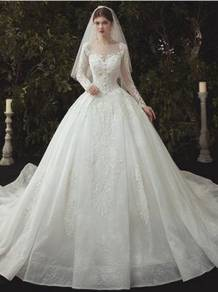 White long sleeve wedding bridal dress gown RB2043
