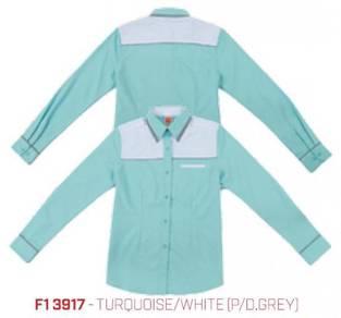 Kemeja Korporat Uniform Female F13917 Turquoise/Wh