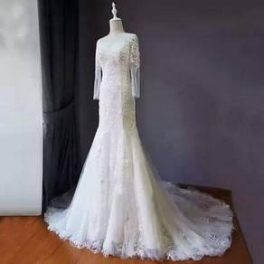 White long sleeve Wedding bridal dress gown RB0252