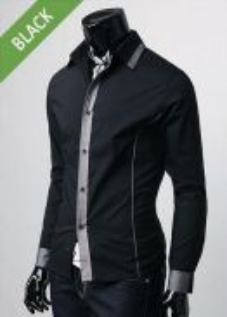 S0538 Luxury Black Formal Casual Long Sleeve Shirt