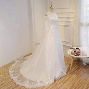 White long sleeve Wedding bridal dress gown RB0254