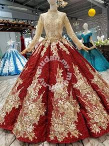 Red gold long sleeve wedding bridal dress gown