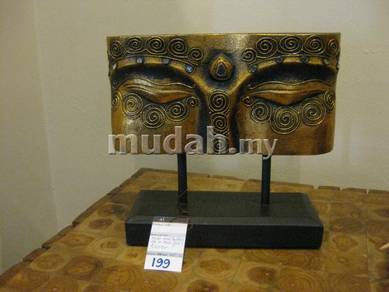 Aipj Buddha eyes meranti wood carving with stand