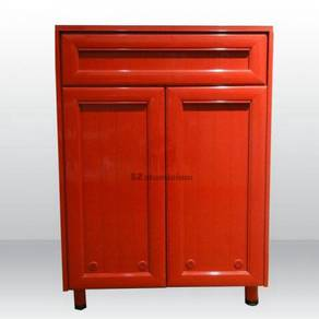 Aluminium 4 layer shoes cabinet - red