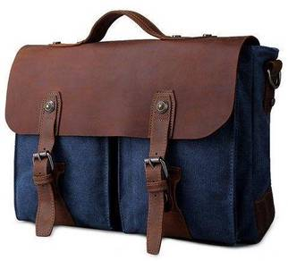 Vintage Blue Briefcase Porter Laptop Sling Bag Men