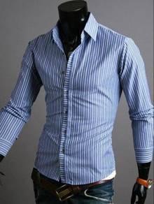 S0553 Blue Formal Shirt Kemeja Biru Lengan Panjang