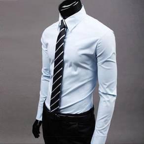 S0514 Grey Blue Formal Office Long Sleeves Shirt