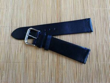 ITALIAN Black Soft Calfskin Leather Watch Strap