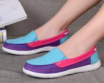 S0252 Blue Purple Pink Women Slip On Casual Shoes