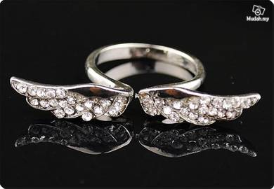 ABRWG-W007 Angel Wing White Gold Filled Ring AS