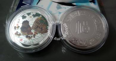 ABCSM-C001 Silver Plated Chicken Coin 53mm w Case