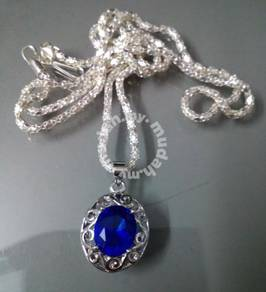 ABPWG-F001 White Gold Filled Blue Crystal Necklace