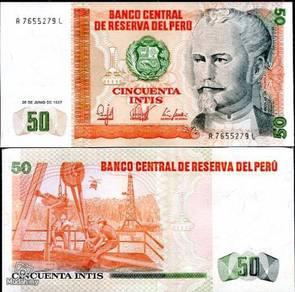 Peru 50 Intis Banknote 1987 Crisp UNC