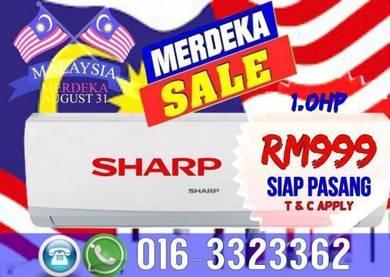Hari Merdeka Aircond Sharp Siap Pasang 999 Only
