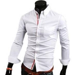 S0536 White Plain Formal Casual Long Sleeves Shirt