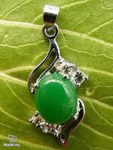 ABPJ-G009 Silver Crystal Green Jade Pendant Neckla