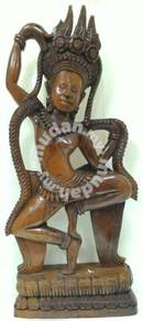 Antique Hand Wood Craft Cambodian Dancer Statue