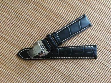 HAMILTON 20mm Black Crocodile Leather Watch Strap