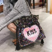 Kiss pink black shoulder sequin bag RBHB042