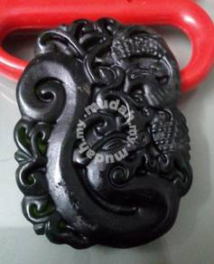 ABPJ-D080 Black Jade Dragon Phoenix Necklace