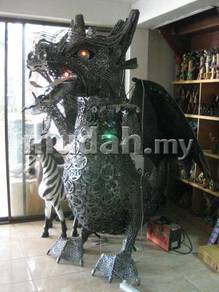 Aipj recycled scrap metal dragon with wings