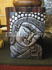 Aipj Buddha wood carving panel divider silver