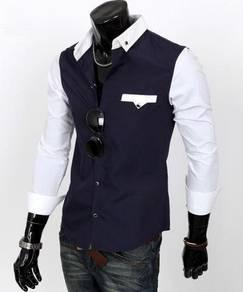 S0532 Smart Blue Formal Business Long Sleeve Shirt