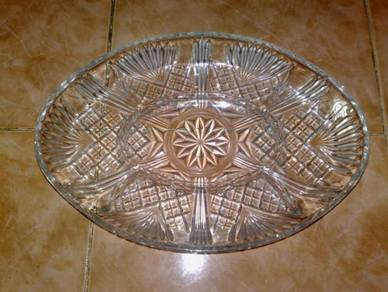 Pinggan vintage glass divided oval plate