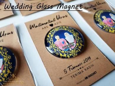 Wedding doorgift glass magnet with card