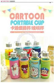 Kids Water Glass Bottle With Cartoon Pouch 300ml