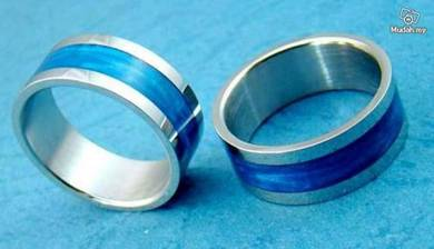 ABRSS-F002 Blue Sweet Heart Band Stainless Ring S9