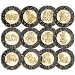 12 Zodiac Signs Gold Plated Collectible Gift Coin