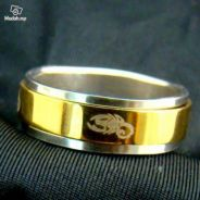 ABRSS-S005 Scorpion 2Layer Spin Gold Silver Ring 8