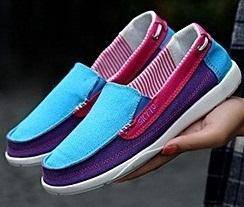 S0252 Blue Purple Pink Loafer Slip On Casual Shoes