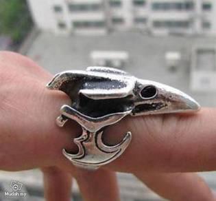 ABRSM-E001 Eagle Face Head Silver Metal Ring 8-10