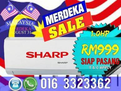 Merdeka HOT Deals Aircond Sharp 999 siap pasang
