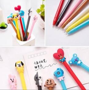 KPOP BTS BT21 Cartoon Black ink Gel Pen 8 cute