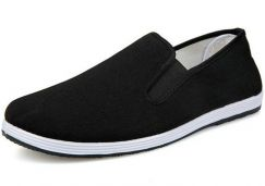 SA0268 Black Slip On Loafer Canvas Casual Shoes