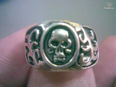 ABRSM-S005 Rocker Skull Silver Metal Ring Sz 8.75