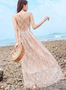 Rose gold nude sequin prom evening dress gown
