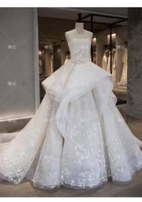 Cream ruffle wedding bridal dress gown RB2056