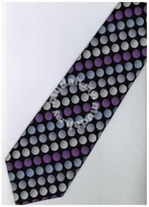 EPP14 Purple Black White Ball Striped Neck Tie