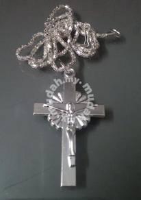 ABPSM-C022 Crucifix Cross Jesus Silver Necklace