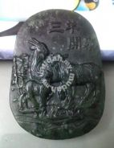 ABPJ-S010 Chinese Green Black Jade 3 Sheep Pendant